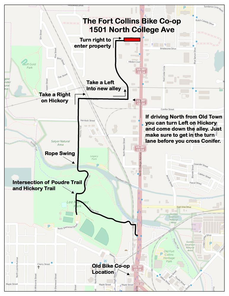 Map to Fort Collins Bicycle Co-op